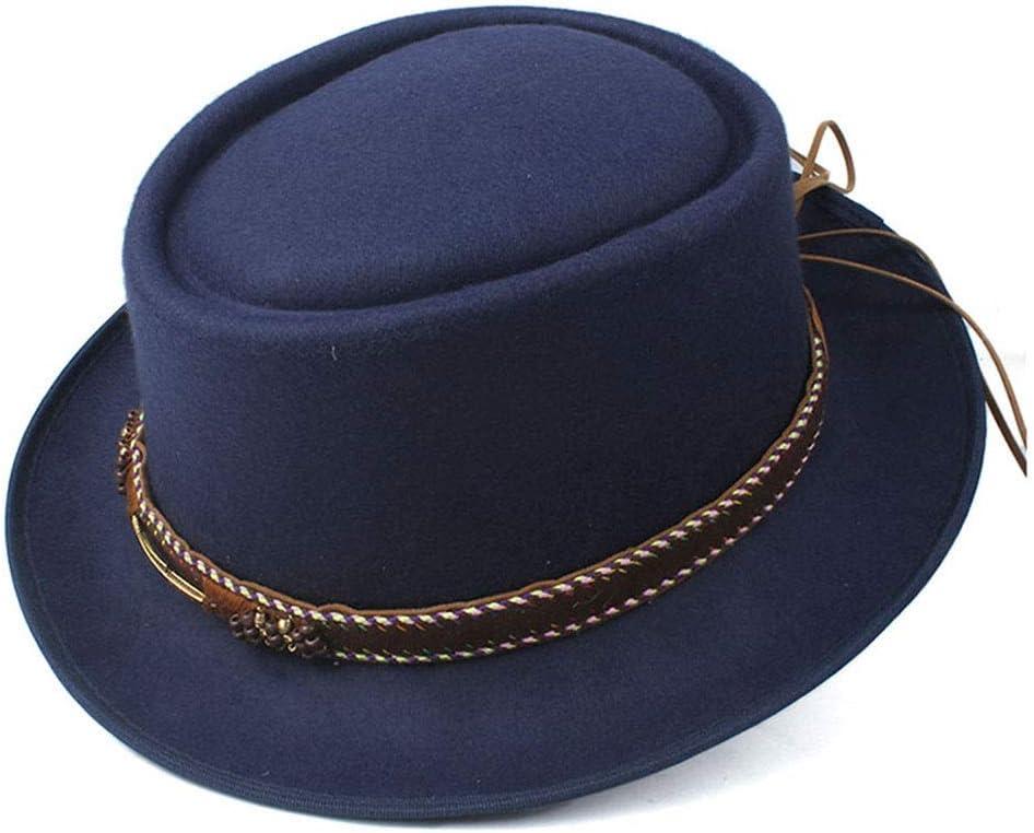 HXGAZXJQ Hxgang Unisex Women Men Pork Pie Hat with Belt Outdoor Fedora Hat Wool Flat Dad Hat Size 58CM (Color : Dark Blue, Size : 58)