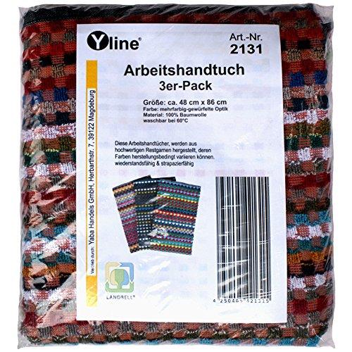 3er Pack Arbeitshandtuch ca. 48 x 86 cm / 100% Baumwolle, gewürfelte Optik, Frotteehandtuch, Handtuch dunkel, Grubenhandtuch im SB Pack, 2131