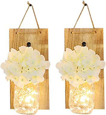 Toyfun 2PCS Rustic Mason Jar Wall Decor Sconces Decorative Home Lighted Country House Hanging with LED Fairy Strip Lights and