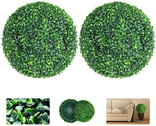 VegasDoggy 2 PCS 19 7 Inch Artificial Boxwood Balls Topiary UV Protected 4 Layers Faux Plants product image