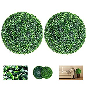 VegasDoggy 2 PCS 15.7 Inch Artificial Boxwood Balls Topiary – UV Protected 4 Layers Faux Plants Decorative Balls for Indoor, Outdoor, Garden, Wedding, Balcony, Backyard and Home Decor