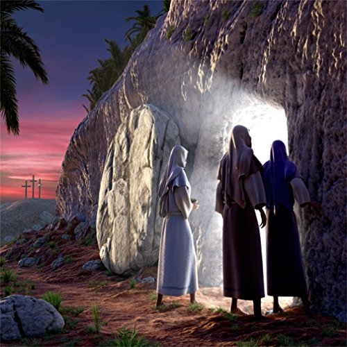 CSFOTO 5x5ft Resurrection of Jesus Background Holy Light Cave Cross Religion Faith Pray Baptism Christianity Pray Backdrop Jesus Tomb God Saint Photo Wallpaper