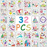 BESTZY Plantillas Pintura Set 32 Piezas Navidad Plantillas Dibujo niños plástico Pintura Plantillas para Manualidades, Scrapbooking, Diario,Pintura, Navidad Decoración