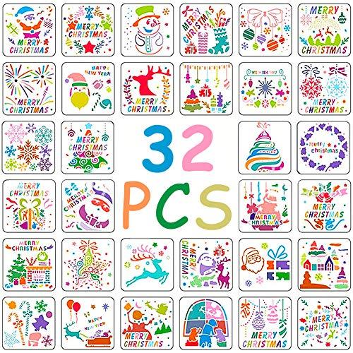 BESTZY Stencil per Disegno Natalizio 32 Pezzi Template Stencil da Disegno di Plastica per Album di Ritagli di Giornale, Decorazione di Natale Fai da Te