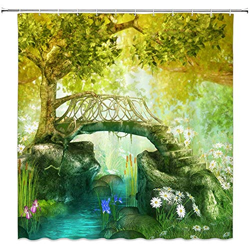 Fantasie Garten Landschaft Dusche Traum Natur Dekor Steinbrücke Alter Baum Mit Frischem Laub Creek Daisy Blume Wasserdicht Grüngelb Badezimmer