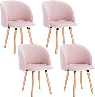 WOLTU 4X Sillas de Comedor Nordicas Estilo Vintage Dining Chairs Juego de 4 Sillas de Cocina Sillas Tapizadas en Terciopel...