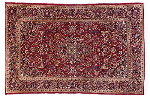 Lifetex.eu Hochwertiger Orientteppich Keshan-Muster (ca. 135x200 cm) Klassisch handgeknüpft Schurwolle Blau Teppich