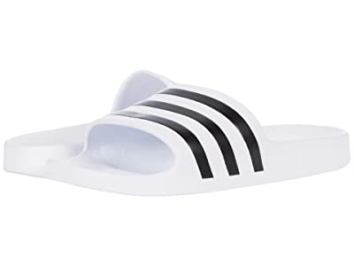 adidas Adilette Aqua Slides (White/Black/White) Athletic Shoes