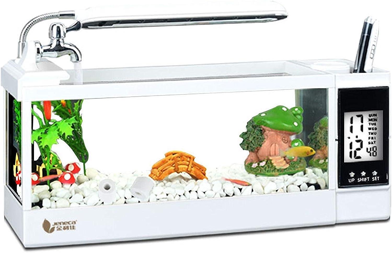 Aquala Desktop 2.5L Mini Aquarium Tank, Aquarium With LED Lamp, Calender and Running Water Circulation Home&Desktop Ornaments