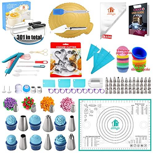 Nifogo Tortenplatte Drehbar Set, Drehbar Tortenständer, Drehteller Torte, Spritzbeutel und Tipps-Set, Gebäckwerkzeug für Backen Gebäck, Zuckerguss,Kollokation Silikonmatte