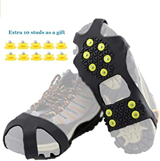 HoFire Ice Cleats, Ice Grips Traction Cleats Grippers Non-Slip Over Shoe/Boot Rubber Spikes Crampons Anti Easy Slip 10 Steel Studs Crampons Slip-on Stretch Footwear Various Styles are Available