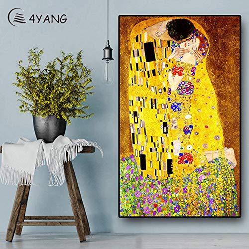 Yang Pintura al óleo Abstracta Beso en el Lienzo Famoso réplica Cartel Moderno Cuadro Pared 40x60cm