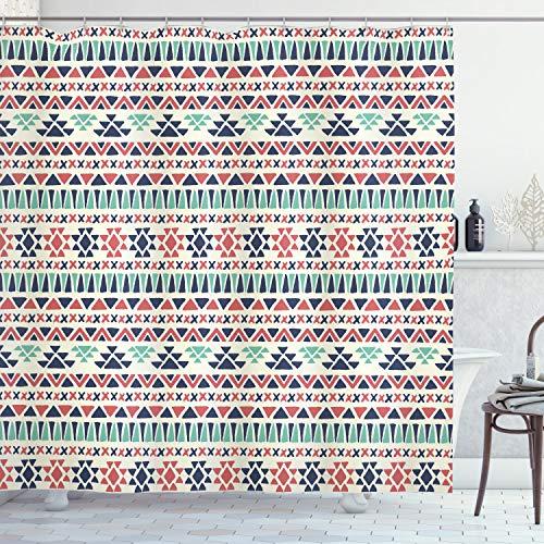 ABAKUHAUS Stammes Duschvorhang, Native ethnische Kunst, mit 12 Ringe Set Wasserdicht Stielvoll Modern Farbfest & Schimmel Resistent, 175x180 cm, Nachtblau Meeresgrün Creme