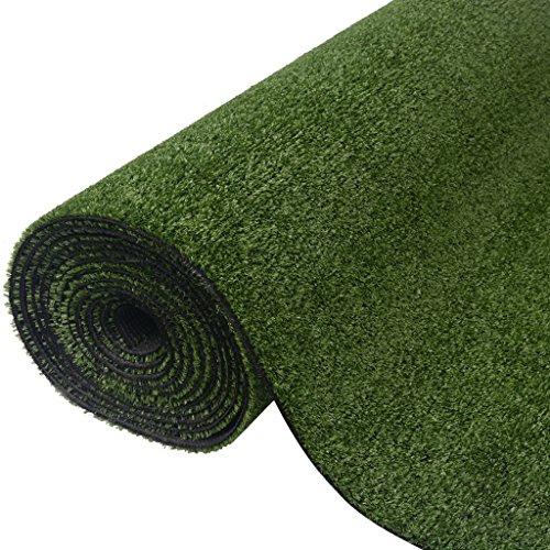 Festnight Kunstrasen Rasenteppich PP-Kunstrasen 1,5 x 5 m / 7-9 mm UV-Beständig Ergänzung zu Terrasse Garten oder Balkon - Grün