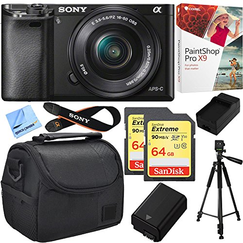 Sony Alpha a6000 24.3MP Mirrorless Camera w/ 16-50mm Bundle Includes Alpha a6000, 16-50mm Zoom Lens, Paint Shop Pro X9, Bag, 64GB SDXC Card x 2, Battery, Charger, Tripod and Beach Camera Cloth