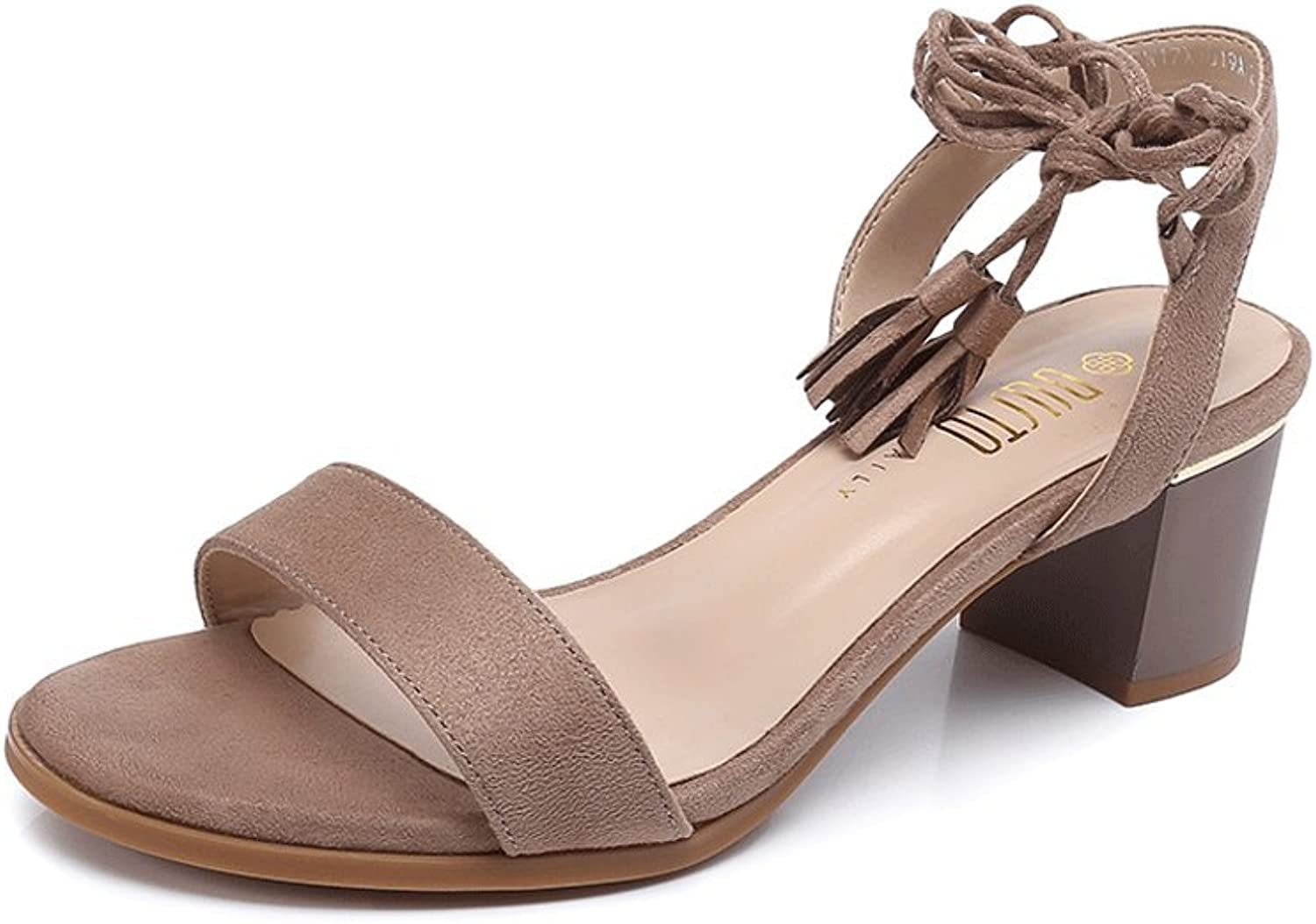 Ladies Sexy Sandals Summer Exposed Toe High Heels Simple Casual shoes ( color   Brown , Size   37 )