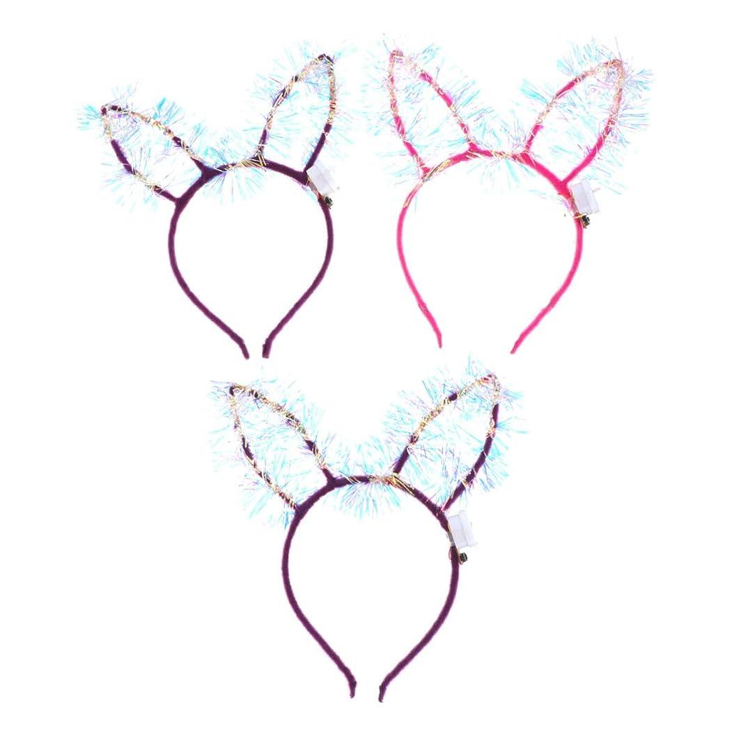 ロバ溶融ヘアLEDMOMO 3ピース LED ウサギ耳 ヘアフープ かわいい 輝く ウサギ耳 バンドヘッド パーティー ハロウィン コスプレ パーティーヘアアクセサリー