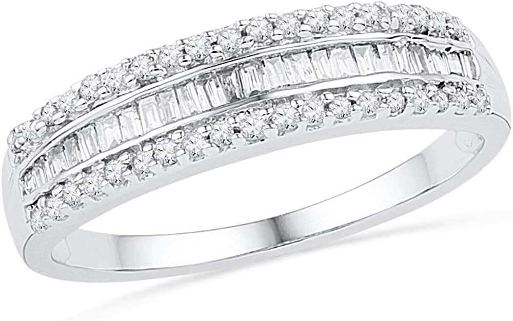 10KT White Gold Baguette and Round Diamond Anniversary Ring (1/4 cttw) ,size 6