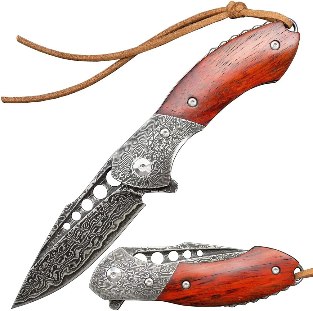 Sitivien ST208 Damascus wholesale Folding knife Time sale Blade and Dalbe VG10 Core