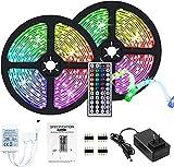 Tiras LED,5050 luces LED RGB 10m con Control Remoto, IP20, no resistente al agua, cambio de color con 20 colores, kit de tiras de luces LED con 44 teclas