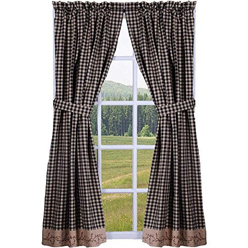 "Primitive Home Decors Berry Vine Check Black and Nutmeg 72"" x 63"" Lined Cotton Curtain Panels"