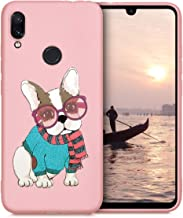 Yoedge Case for Xiaomi Redmi Note 7, Silicone Back Cover Pink Sand with Cute Printed Design, Slim Fit Thin Shockproof Rubber TPU Bumper Skin for Girls Women, Dog