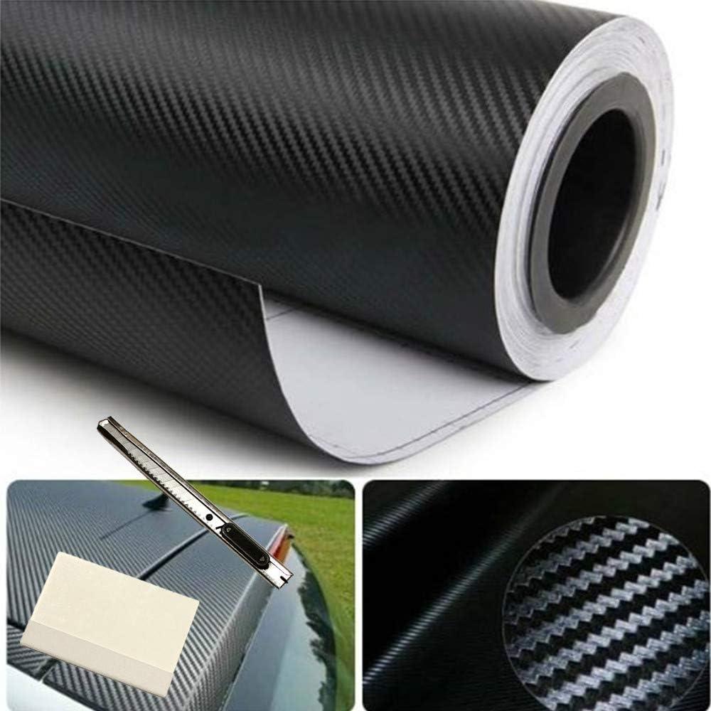 Popular Max 87% OFF popular F B LED LIGHTS 3D Black Carbon Fiber Vinyl Car Bubble Fil Wrap