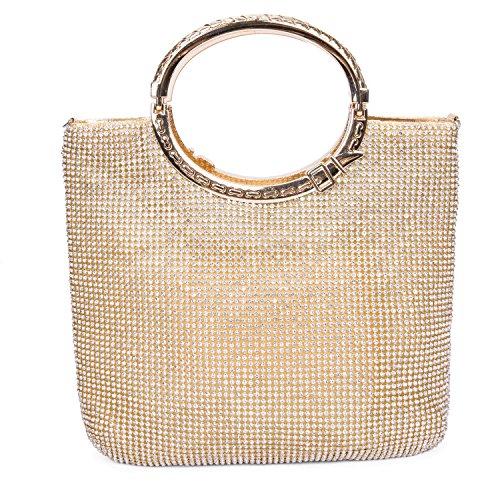 CLOCOLOR Borsa Pochette a mano delle donne con diamanti cristalli luminosi borsetta con manici stile elegante con ampio spazio borsa festa sacchetto di sera, Dorato