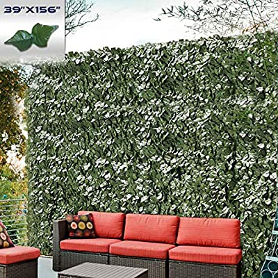 "Windscreen4less Artificial Faux Ivy Leaf Decorative Fence Screen 39"" x 158"" Ivy Leaf Decorative Fence Screen"