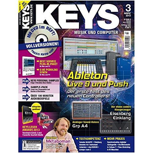 Keys 3 2013 mit DVD - Ableton Live 9 und Push - U-He Podolski Synth auf DVD - Personal Samples - Free Loops - Audiobeispiele
