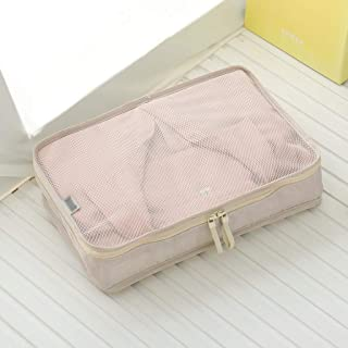 Packing Cubes Value Set for Travel Luggage Organiser Bag Multi-Functional Compression Pouches Clothes Suitcase High Capacity Beige, Blue, Gray QDDSP (Color : Beige, Size : L)