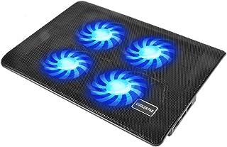 ノートパソコン冷却台 冷却パッド Nockady 冷却ファン PCクーラー 4ファン 風力調節可 ブラケット付き 超静音 USB接続 LED搭載 熱暴走対策 薄型軽量 15.6インチ 全サイズ通用