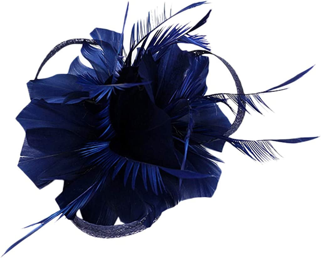 VISOEP Womens Feather Fascinators Flower Hat for Cocktail Ball Wedding Headband Headwear