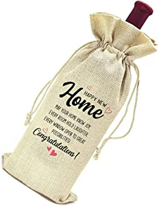 Housewarming Gift -Congratulations First Time House Owner Gift for Men Women -New Home Owners Mom Dad Daughter Son Friends Coworkers Wine Bag Gift -Happy New Home