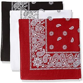 Levi s Men s 100% Cotton Multi-purpose Bandana Gift Sets – Headband Wrap Protective Coverage Black/White/Red Pack 3