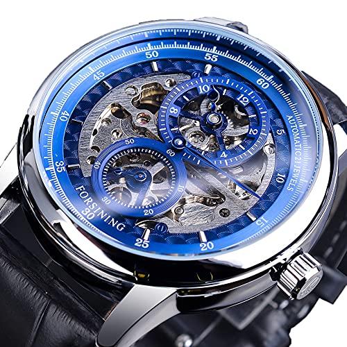 Excellent Reloj Masculino Reloj mecánico automático para Hombres Negocio Reloj de Pulsera Casual con Correa de Cuero Dial Redondo 3ATM 30 Metros Resistente al Agua, Regalo para él,A02