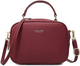 WANYIG Handy Umhängetasche Damen PU Leder Schultertasche Klein Reißverschluss Handtasche Crossbody Bag Frauen Brieftasche ...