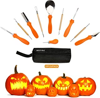 Secura Pumpkin Carving Tools - Professional Stainless 10 pc Carving Tools For Halloween Jack-O-Lanterns Pumpkin Party Decorations(10 pc)