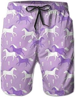 Horses Purple Mens Summer Breathable Swim Trunks Beach Shorts Cargo Shorts