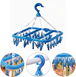 Foldable Clip and Drip Hanger - Hanging Drying Rack with 32 Clips