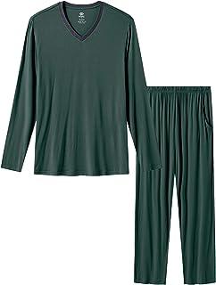 Pijamas Hombre Suave Conjunto de Pijama Largo Ropa de Dormir Casa Pantalon y Camiseta de Cuello-V