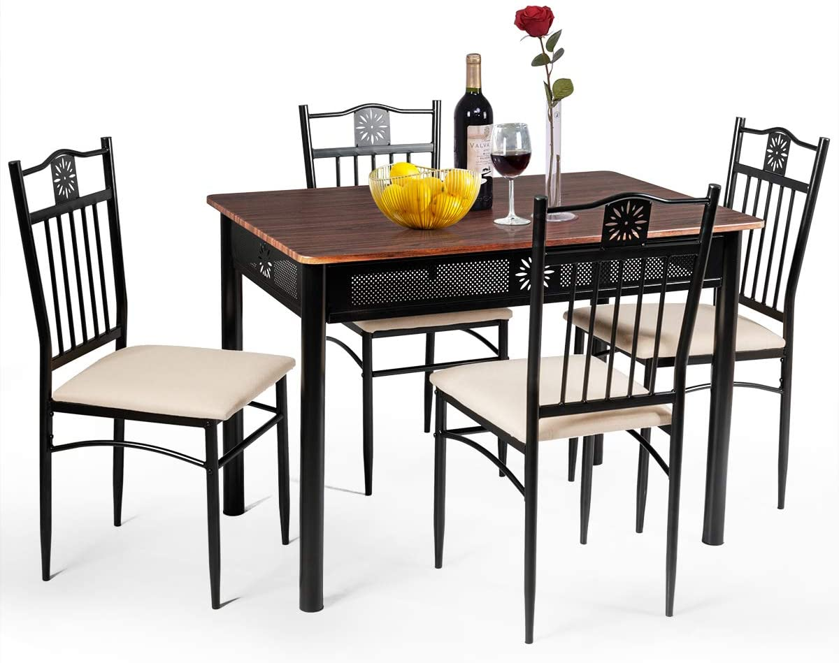 TANGKULA 9 Piece Dining Table and Chairs Set Vintage Retro Wood Top Metal  Frame Padded Seat Dining Table Set Home Kitchen Dining Room Furniture