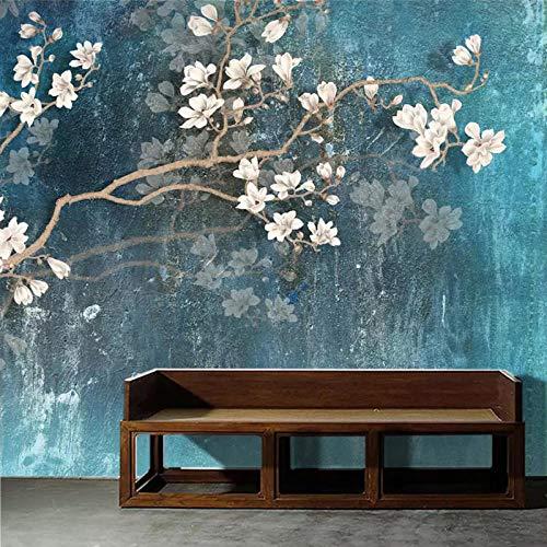 Fotobehang Nordic Blue Vintage Hand Gekleurde Bloemen en Vogels Niet-geweven Premium Art Print Fleece Muurmuurdecoratie Poster voor Woonkamer TV Achtergrond Muur 157.48x110.23 inch