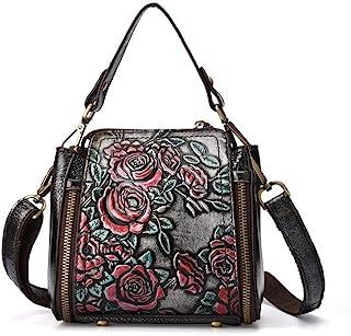 ZHINTE Handtaschen Umhängetaschen Vintage Frauen Blumengeprägte Stil Handtasche Leder Umhängetasche Schulter Top Griff Tas...