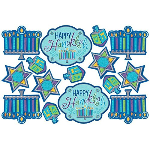 amscan Joyous Hanukkah Festival Assorted Cutout (30 Piece), Blue/Teal, One Size
