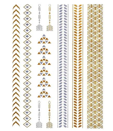 15 Tatouages éphémères métallique Waterproof -Tatoo temporaire Or - Bijou de Peau Bracelet Fleche