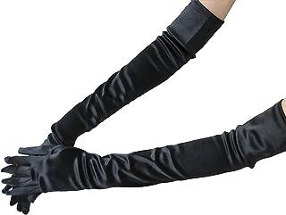 JIAHG Lange Damen Handschuhe glänzend Elastische Satinhandschuhe Abendhandschuhe Brauthandschuhe bis zum Ellenbogen ca.53 cm für Hochzeit Party Karneval
