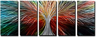 Yihui Arts Multi-Colored Tree Metal Wall Art, 3D Wall Art for Modern and Contemporary Decor, Decorative Hanging in 5-Panels Measures 24