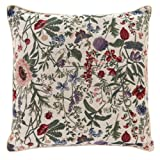 Signare Tapestry Double Sided Square Throw Pillow Cover 18' x 18'/ 45 x 45cm (No Padding) in Floral Morning Garden Design
