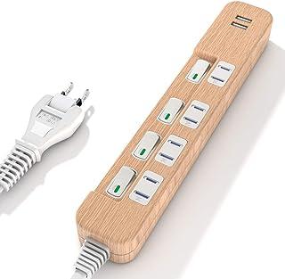 SAYBOUR タップ電源タップ 3.4A USB 付き PSE認証済 雷ガード 省エネ 個別スイッチ 4+2(AC差し込み口 +USBポート) (1m, 木目調)